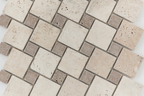 Diagonal L/N Mix - Travertine Mosaic